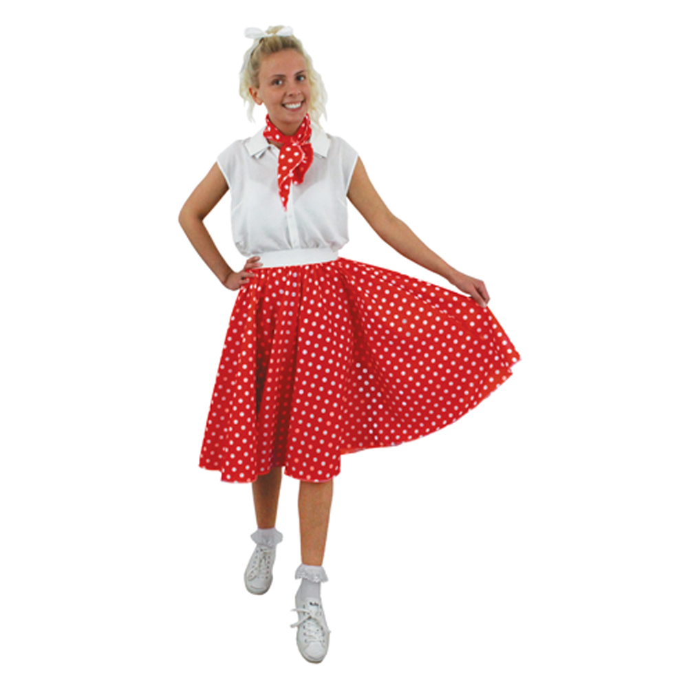 10858569399cb Adults Long Plus Size Red and White Polka Dot Skirt + Neck Scarf -  ILFD4517PS