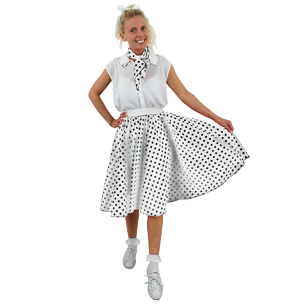 73efd9b65c687 Adults Long Plus Size White and Black Polka Dot Skirt + Neck Scarf